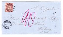 Briefhülle  Chaux De Fonds 30.7.1869 Mit 10Rp Sitzende Helvetia Brief Nach Fribourg 20 Taxiert Und AFFR.INSUF. Stempel - 1862-1881 Helvetia Assise (dentelés)