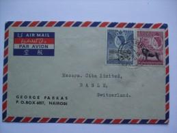 KENYA UGANDA TANGANYIKA KUT 1955 AIR MAIL COVER NAIROBI TO BASLE SWITZERLAND - Kenya, Uganda & Tanganyika