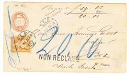 """Tüblibrief 5Rp Mit 20Rp Sitzende 8.10.1873 Bex Ortsbrief Mit Stempel """"non Réclamé"""" - 1862-1881 Helvetia Assise (dentelés)"""