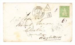 Sitzende 25Rp Ungestempelt Auf Brief Ges. 1.9.1876 Chamonix Nach Chester GB Taxiert - 1862-1881 Helvetia Assise (dentelés)