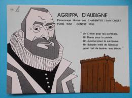 17 : PONS : AGRIPPA D'AUBIGNE Né à PONS En 1552 , C.P.M. Carte En Très Bon état , - Advertising