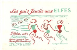 Buvard Les Gais Jeudi Aux ELFES Plein Air Natation Siège Social: Paris 215 Boulevard Saint Germain - Sport