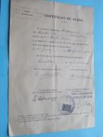 CERTIFICAT De STAGE L'HOPITAL UNIVERSITAIRE ST. PIERRE Bruxelles - Pharma Duparque / Wolfs Roger 1944 ( Zie Foto´s ) ! - Diploma & School Reports