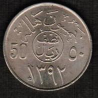 SAUDI ARABIA  50 HALALA 1972 (AH 1392) (KM # 51) - Saudi Arabia