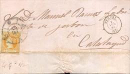 Año 1860 Edifil 52 4c Sello Isabel II Envuelta  Con Matasellos Rueda De Carreta 47 Teruel - 1850-68 Königreich: Isabella II.