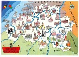 Cpsm BELGIQUE Carte Du Pays Avec Monument Par Ville - Belgique