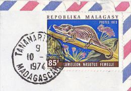 1974 Air Mail MALAGASY COVER Stamps 85f CHAMELEON LIZARD To GB Madagascar - Reptiles & Amphibians