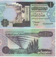 LIBYA  1/2 Dinar   P58b    ND  1991  Signature 4   UNC - Libye