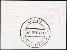 1981. BRASIL CORREIO Cr. $ 12.00 RIO DE JANEIRO 10 JUN 81. (Michel: ) - JF192614 - Automatenmarken (Frama)