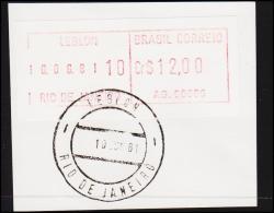 1981. BRASIL CORREIO Cr. $ 12.00 RIO DE JANEIRO 10 JUN 81. (Michel: ) - JF192617 - Automatenmarken (Frama)