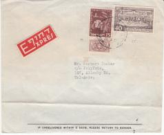 ISRAEL 1951 EXPRESS COVER MICHEL 40 & 59 1 FULL TAB - Israel