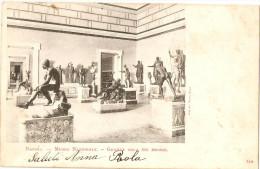 CARTOLINA NAPOLI - MUSEO NAZIONALE - GRANDE SALA DEI BRONZI-AL RETRO STAMPA PUBBLICITARIA - Napoli (Naples)