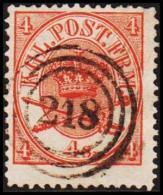 1865. Large Oval Type. 4 Skilling Bright Red. Perf. 13x12½ 218 RANDERS J.B.P.E.  (Michel: 13Aa) - JF192695 - 1864-04 (Christian IX)