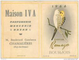 Carte Parfumée Callendrier 1966 - Parfum Bourjois - ** Ramage ** -  Parfumerie IVA à Chamalières (Puy-de-Dôme) Scans. - Perfume Cards