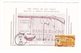 1968 USA Daniel Boone 6c Postcard First Day Cover - 1961-1970