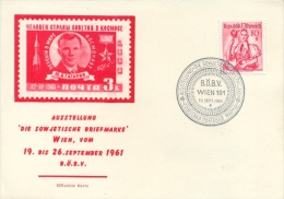 "Austria 1961 Special Cancel On Thincard Vienna Philatelic Exhibition ""The Sovietic Stamp"" - Philatelic Exhibitions"