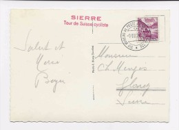 Cachet SIERRE Tour De Suisse Cycliste 1938, Sur Carte Postale Illustrée SIERRE HOTEL ARNOLD, Voitures. Valais Wallis - Postmark Collection