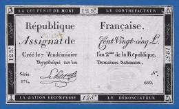 France Assignat 125 Livres 1793 1st Issue Sign. Le Petit - Pick # A74 VF++ - Assegnati