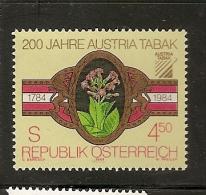 Austria ** & 200 Years Of Tobacco Industry Foundation, 1984 (1598) - Fabbriche E Imprese