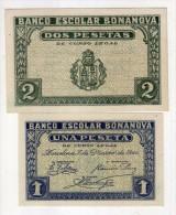 2955 Billete  Banco  Escolar Bonanova Barcelona 1944 - [ 8] Ficticios & Especimenes