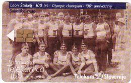 Slowenien Chip, Catalog.Nr.456, Tirage 969, Olympic Champion Leon Štukelj - Slovenia