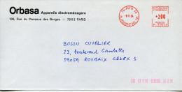 EMA Orbasa,appareils électroménagers,rue Du Essous Es Berges,Paris,lettre Obliterée 8.6.84,Place Jeanne D'Arc,Paris 63 - Marcophilie (Lettres)