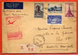 FRANCE  LETTRE  RECOMMANDEE DE 1939 DE PARIS VIA MARSEILLE NEW YORK - Poste Aérienne