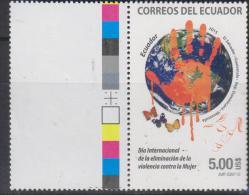 RO)2015 ECUADOR, ELIMINATION OF VIOLENCE AGAINST WOMEN, SALVADOR,GUATEMALA, DOMINICAN REPUB. VENEZUELA,HAND, WORLD MAP, - Ecuador