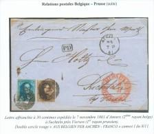 N°10-11 - Médaillons 10 Et 20 Centimes, Obl. P.4  Sur Lettre D´ANVERS (2ème Rayon Belge)  Le 7-11-1861 Vers Suchteln Prè - 1858-1862 Medallones (9/12)