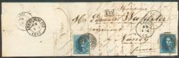 N°11(2) - Médaillons 20 Centimes (2 Exemplaires) , Obl. P.73  Sur Lettre De LIEGE  Le 4-4-1862 Vers Nancy + (verso) Dc A - 1858-1862 Medallions (9/12)