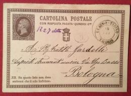 GUALDO - TADINO UMBRIA  DOPPIO CERCHIO  SU INTERO POSTALE N.2  PER  BOLOGNA IN DATA  18 SETTEMBRE 1874 - 1861-78 Victor Emmanuel II