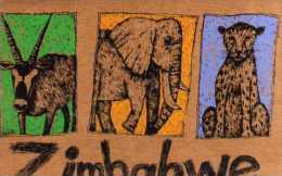 ZIMBABWE Animaux,illustrateur Lidia Milne  Format 16x11 Cm, Sur Papier Recyclable, Elephant, Panthere,antilope - Zimbabwe