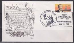 Statue De La Liberté 100ème Anniversaire Enveloppe Liberty Island NY 10004 1er Jour 4.7.86 Statue Et Portrait Bartholdi - First Day Covers (FDCs)