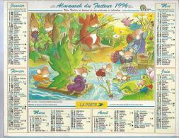 ALMANACH DU FACTEUR 1996 ( CALENDRIER ) A LA RIVIERE / DANS LA FORÊT - Déssin: Anne HOFER - Calendriers