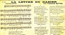 Bretagne Chanson Musique Paroles De La Lettre Du Gabier Théodore Botrel 1903 - Chanteurs & Musiciens