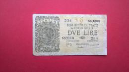 Italie. Billet De 2 Lire/due Lire 1935 - [ 1] …-1946 : Koninkrijk