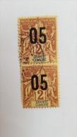 GRANDE COMORE:1912 Paire De  Timbres De 1897-1900 Surchargés Oblitérés N°20