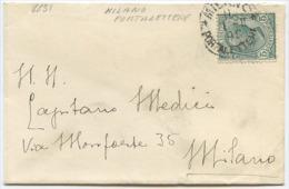 1908 BUSTINA PER BIGLIETTO VISITA CON LEONI C. 5 ISOLATO ANNULLO NON COMUNE MILANO PORTALETTERE 1.2.08 (6651) - Storia Postale