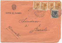 1959 SIRACUSANA L. 1(INVISIBILI FORI) +6x2 COPPIE BUSTA 23.9.59 26.9.59 RARA TARIFFA LETTERA RIDOTTA SINDACI 2°PORTO (66 - 6. 1946-.. Repubblica