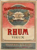 Etiquette RHUM Vieux - Dépierre & Gelay - Distillerie à CHARLIEU (Loire) - Rhum