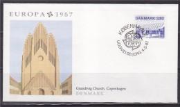 = Europa 1987 Grundtvig Church Copenhague Danemark Enveloppe 1er Jour København V 4.5.87 Denmark Timbre - Comunità Europea