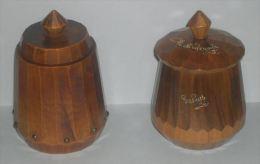 POT A TABAC - 2 POTS A TABACS EN BOIS TOURNE - ANNEES 1930-1950 - TABATIERE - 3 SCANS - Non Classés