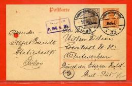 BELGIQUE OCCUPATION ALLEMANDE ENTIER POSTAL DE 1917 POUR ANVERS - Stamped Stationery