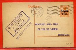 BELGIQUE OCCUPATION ALLEMANDE ENTIER POSTAL DE 1917 DE BRUXELLES - Stamped Stationery
