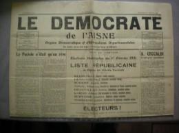 LE DEMOCRATE  DE L´AISNE  N°7  DU DIMANCHE 25 JANVIER 1931 - Journaux - Quotidiens