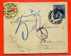 GRANDE BRETAGNE LETTRE TAXEE DE 1899 DE LONDRES POUR GERZENSEE SUISSE - 1840-1901 (Viktoria)