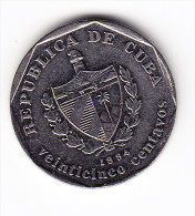 1994 Cuba 25 Centavos  Coin - Cuba