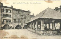 25 - CPA - CAYLUS - Place Du Marché - Vue Dejean & Vve Vaissié, Caylus - (n&b) - A - - Caylus