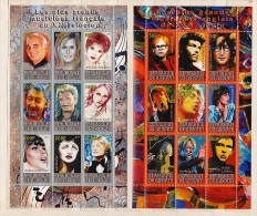 Mint MNH (**) 2 BF Block Stamp Music Singer Piaf  Farmer Dalida Aznavour Lennon Elton John Mick Jagger Beatles - Vignettes De Fantaisie