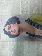 Donnine  Donna  Vestito Giallo Collo Viola Illustratore F.SPOTTI Diva Ciema Francesca BERTINI - Mujeres